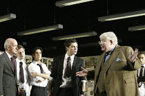 THE HISTORY BOYS by Alan Bennett design: Bob Crowley lighting: Mark Henderson director: Nicholas Hytner ~~l-r: Clive Merrison (Headmaster), Samuel Barnett (Posner), Sacha Dhawan (Akthar), Dominic Coop...