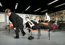 THE HISTORY BOYS by Alan Bennett design: Bob Crowley lighting: Mark Henderson director: Nicholas Hytner   front, l-r: James Corden (Timms), Dominic Cooper (Dakin) Lyttelton Theatre, National Theatr...