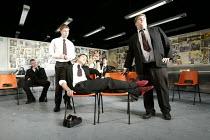 THE HISTORY BOYS by Alan Bennett design: Bob Crowley lighting: Mark Henderson director: Nicholas Hytner   front, l-r: Samuel Barnet (Posner), Dominic Cooper (Dakin), James Corden (Timms) Lyttelton...