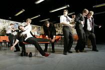 THE HISTORY BOYS by Alan Bennett design: Bob Crowley lighting: Mark Henderson director: Nicholas Hytner   l-r: Dominic Cooper (Dakin), Samuel Barnett (Posner), Samuel Anderson (Crowther), Sacha Dhaw...