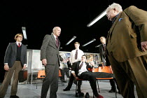 THE HISTORY BOYS by Alan Bennett design: Bob Crowley lighting: Mark Henderson director: Nicholas Hytner ~~l-r: Stephen Campbell Moore (Irwin), Clive Merrison (Headmaster), Samuel Barnett (Posner), Dom...