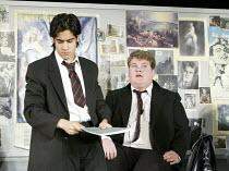 THE HISTORY BOYS by Alan Bennett design: Bob Crowley lighting: Mark Henderson director: Nicholas Hytner   l-r: Sacha Dhawan (Akthar), James Corden (Timms) Lyttelton Theatre, National Theatre, Londo...