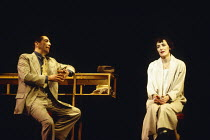 MACHINAL by Sophie Treadwell set design: Ian MacNeil costumes: Clare Mitchell lighting: Rick Fisher director: Stephen Daldry   Ciaran Hinds (First Man), Fiona Shaw (Young Woman) Lyttelton Theatre, Nat...