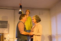 l-r: Ron Cook (Robin), Deborah Findlay (Hazel), Francesca Annis (Rose) in THE CHILDREN by Lucy Kirkwood opening at the Jerwood Theatre Downstairs, Royal Court Theatre, London SW1 on 24/11/2016   desig...