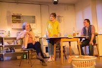 l-r: Francesca Annis (Rose), Deborah Findlay (Hazel), Ron Cook (Robin) in THE CHILDREN by Lucy Kirkwood opening at the Jerwood Theatre Downstairs, Royal Court Theatre, London SW1 on 24/11/2016   desig...