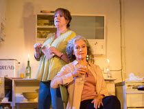 l-r: Deborah Findlay (Hazel), Francesca Annis (Rose) in THE CHILDREN by Lucy Kirkwood opening at the Jerwood Theatre Downstairs, Royal Court Theatre, London SW1 on 24/11/2016   design: Miriam Buether...