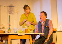 Deborah Findlay (Hazel), Ron Cook (Robin) in THE CHILDREN by Lucy Kirkwood opening at the Jerwood Theatre Downstairs, Royal Court Theatre, London SW1 on 24/11/2016   design: Miriam Buether lighting: P...