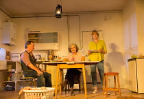 l-r: Ron Cook (Robin), Francesca Annis (Rose), Deborah Findlay (Hazel) in THE CHILDREN by Lucy Kirkwood opening at the Jerwood Theatre Downstairs, Royal Court Theatre, London SW1 on 24/11/2016   desig...