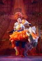 James Doherty (Widow Twankey) in ALADDIN opening at the Lyric Hammersmith, London, W6 on 26/11/2016 written by Joel Horwood  set design: Oliver Townsend  costumes: Jean Chan  lighting: Tim Deiling  di...