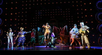 l-r: Allyson Ava-Brown (Jasmine), Malinda Parris (Genie), Karl Queensborough (Aladdin), Vikki Stone (Abanazer), Arthur McBain (Wishy Washy), Dale Rapley (Emperor) in ALADDIN opening at the Lyric Hamme...