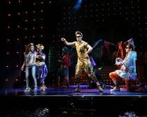 l-r: Allyson Ava-Brown (Jasmine), Malinda Parris (Genie), Karl Queensborough (Aladdin), Arthur McBain (Wishy Washy) in ALADDIN opening at the Lyric Hammersmith, London, W6 on 26/11/2016 written by Joe...