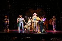 centre, l-r: Allyson Ava-Brown (Jasmine), Karl Queensborough (Aladdin), Dale Rapley (Emperor), Malinda Parris (Genie) in ALADDIN opening at the Lyric Hammersmith, London, W6 on 26/11/2016 written by J...