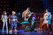l-r: Allyson Ava-Brown (Jasmine), Malinda Parris (Genie), Karl Queensborough (Aladdin), Vikki Stone (Abanazer), Arthur McBain (Wishy Washy) in ALADDIN opening at the Lyric Hammersmith, London, W6 on 2...