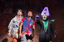 l-r: Arthur McBain (Wishy Washy), Karl Queensborough (Aladdin), Vikki Stone (Abanazer) in ALADDIN opening at the Lyric Hammersmith, London, W6 on 26/11/2016 written by Joel Horwood  set design: Oliver...