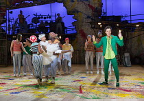 left (in white) Saikat Ahamed (Tinkerbell)  right: Paul Hilton (Peter Pan) in PETER PAN by J.M.Barrie opening at the Olivier Theatre, National Theatre (NT), London SE1 on 02/12/2016 a co-production wi...