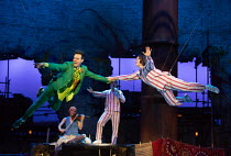 Paul Hilton (Peter Pan), Madeleine Worrall (Wendy) in PETER PAN by J.M.Barrie opening at the Olivier Theatre, National Theatre (NT), London SE1 on 02/12/2016 a co-production with Bristol Old Vic / dev...