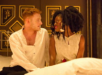 'The Princess and the Pea': Jack Shalloo (The Prince), Akiya Henry (The Princess) in THE LITTLE MATCHGIRL and Other Happier Tales by Hans Christian Andersen opening at the Sam Wanamaker Playhouse, Sha...