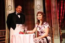 Cory English (Waiter), Scarlett Strallen (Amalia Balash) in SHE LOVES ME opening at the Menier Chocolate Factory Theatre, London SE1 on 07/12/2016   book: Joe Masteroff music: Jerry Bock lyrics: Sheld...