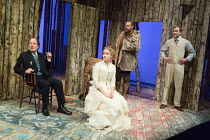 l-r: Simon Chandler (Porfiry Semyonovich Glagolyev), Sophie Rundle (Sofya), Matthew Flynn (Osip), Joe Bannister (Sergey) in WILD HONEY by Michael Frayn opening at the Hampstead Theatre, London NW3 on...