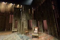 WILD HONEY by Michael Frayn based on Chekhov's 'Play Without a Name'  design: Rob Howell lighting: Peter Mumford directed by Howard Davies with Jonathan Kent stage,set,full,empty,lights,wood,trees,for...