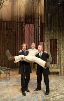 l-r: Geoffrey Streatfeild (Platonov), Joe Bannister (Sergey), Gunnar Cauthery (Dr Triletzky) in WILD HONEY by Michael Frayn opening at the Hampstead Theatre, London NW3 on 08/12/2016 based on Chekhov'...