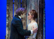 Geoffrey Streatfeild (Platonov), Sophie Rundle (Sofya) in WILD HONEY by Michael Frayn opening at the Hampstead Theatre, London NW3 on 08/12/2016 based on Chekhov's 'Play Without a Name'  design: Rob H...