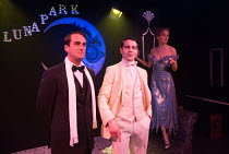 l-r: Bradley Clarkson (Tom Buchanan), Ludovic Hughes (Jay Gatsby), Cressida Bonas (Daisy Buchanan) in GATSBY opening at the Leicester Square Theatre, London WC2 on 08/12/2016   after F Scott Fitzgeral...