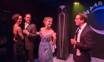 l-r: Ellen Francis (Jordan Baker), Morgan Val Baker (Nick Carraway), Cressida Bonas (Daisy Buchanan), Bradley Clarkson (Tom Buchanan) in GATSBY opening at the Leicester Square Theatre, London WC2 on 0...