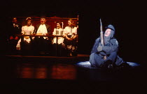 SCHWEYK IN THE SECOND WORLD WAR   by Bertolt Brecht   set design: William Dudley   costumes: Lindy Hemming   lighting: William Bundy   director: Richard Eyre   rear, from 2nd left: Julia McKenzie (Ann...
