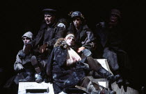 SCHWEYK IN THE SECOND WORLD WAR   by Bertolt Brecht   set design: William Dudley   costumes: Lindy Hemming   lighting: William Bundy   director: Richard Eyre   wounded soldiers Olivier Theatre, Nation...
