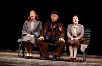 SCHWEYK IN THE SECOND WORLD WAR   by Bertolt Brecht   set design: William Dudley   costumes: Lindy Hemming   lighting: William Bundy   director: Richard Eyre   in the park, l-r: Belinda Sinclair (Kati...