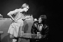CLAW by Howard Barker costumes: Susan Thompson lighting: Jenny Cane director: Chris Parr ~~Sandy Ratcliff (Christine), Billy Hamon (Noel)~Open Space Theatre, London NW1  01/1975...