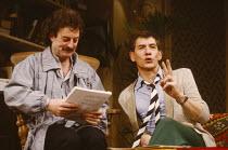SHORT LIST by Michael Rudman set design: Poppy Mitchell costumes: Sheelagh Killeen lighting: Mick Hughes director: Mike Ockrent   l-r: Bernard Hill (Howard), Ian McKellen (Terry) Hampstead Theatre (HT...
