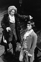 SHE STOOPS TO CONQUER   by Oliver Goldsmith   design: Johanna Bryant   director: Braham Murray   l-r: Dallas Cavell (Sir Charles Marlow), Tom Courtenay (Young Marlow)  a 69 Theatre Company producti...