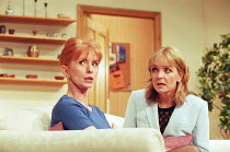 THINGS WE DO FOR LOVE written & directed by Alan Ayckbourn design: Roger Glossop lighting: Mick Hughes l-r: Jane Asher (Barbara), Serena Evans (Nikki) Gielgud Theatre, London W1  03/03/1998...