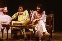 TAKING STEPS by Alan Ayckbourn design: Alan Tagg lighting: Gerry Jenkinson director: Michael Rudman ~~Paul Chapman (Mark), Nicola Pagett (Elizabeth) ~Lyric Theatre, London W1  02/09/1980...