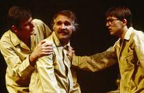 TAKING STEPS by Alan Ayckbourn design: Alan Tagg lighting: Gerry Jenkinson director: Michael Rudman l-r: Paul Chapman (Mark), Dinsdale Landen (Roland), Michael Maloney (Tristram) Lyric Theatre, London...