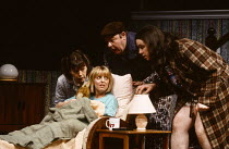 INVISIBLE FRIENDS by Alan Ayckbourn design: Roger Glossop lighting: Mick Hughes director: Alan Ayckbourn l-r: Janet Dale (Joy), Emma Chambers (Lucy Baines), Bill Moody (Walt), Mark Benton (Gary) Cotte...