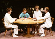 INVISIBLE FRIENDS by Alan Ayckbourn design: Roger Glossop lighting: Mick Hughes director: Alan Ayckbourn l-r: Robert Hands (Chuck), Emma Chambers (Lucy Baines), Claire Skinner (Zara), Simon Chandler (...