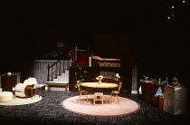 INVISIBLE FRIENDS by Alan Ayckbourn design: Roger Glossop lighting: Mick Hughes director: Alan Ayckbourn stage,set,empty,split,level,kitchen,room,bed,stairs,rug,table,chairCottesloe Theatre / National...