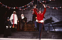 SERJEANT MUSGRAVE'S DANCE by John Arden music: John Tams design: Di Seymour lighting: Rory Dempster dances by Madeleine Hollis & Pat Tracey director: Albert Finney   l-r: Ronald Herdman (Constable), G...