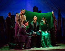 l-r: Emilio Doorgasingh (Baba), David Ahmad (Zaman), Ben Turner (Amir), Lisa Zahra (Soraya) in THE KITE RUNNER by Khaled Hosseini opening at Wyndham's Theatre, London WC2 on 10/01/2017   a Nottingham...