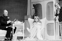 JUMPERS   by Tom Stoppard   set design: Patrick Robertson   costumes: Rosemary Vercoe   lighting: Robert Bryan   director: Peter Wood  l-r: Graham Crowden (Archie), Diana Rigg (Dorothy Moore / Dottie)...