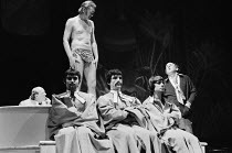 JUMPERS   by Tom Stoppard   set design: Patrick Robertson   costumes: Rosemary Vercoe   lighting: Robert Bryan   director: Peter Wood  right: Michael Hordern (George Moore)  with JumpersNational Theat...