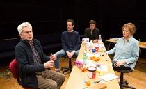 l-r: Nicholas Le Prevost (Rudolph), Milo Twomey (Konrad), Dominic Rowan (Albert), Kate Fahy (Corinna) in WINTER SOLSTICE by Roland Schimmelpfennig opening at the Orange Tree Theatre, Richmond, Surrey,...