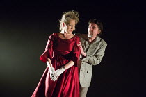 Stella Gonet (Lady Hasi), James Clyde (Chin) in IN THE DEPTHS OF DEAD LOVE by Howard Barker opening at the Coronet Print Room, London W11 on 19/01/2017 ~~design: Justin Nardella lighting: Adrian Sandv...