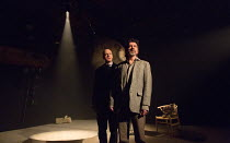l-r: William Chubb (Lord Ghang), James Clyde (Chin) in IN THE DEPTHS OF DEAD LOVE by Howard Barker opening at the Coronet Print Room, London W11 on 19/01/2017 ~~design: Justin Nardella lighting: Adria...