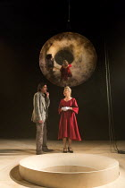 James Clyde (Chin), Stella Gonet (Lady Hasi) in IN THE DEPTHS OF DEAD LOVE by Howard Barker opening at the Coronet Print Room, London W11 on 19/01/2017 ~~design: Justin Nardella lighting: Adrian Sandv...