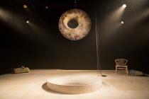 IN THE DEPTHS OF DEAD LOVE by Howard Barker design: Justin Nardella lighting: Adrian Sandvaer director: Gerrard McArthur   stage,set,full,empty,,mirror,well,chains.rock,chair,lights Coronet Print R...