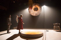 James Clyde (Chin), Stella Gonet (Lady Hasi)  in IN THE DEPTHS OF DEAD LOVE by Howard Barker opening at the Coronet Print Room, London W11 on 19/01/2017 ~~design: Justin Nardella lighting: Adrian Sand...